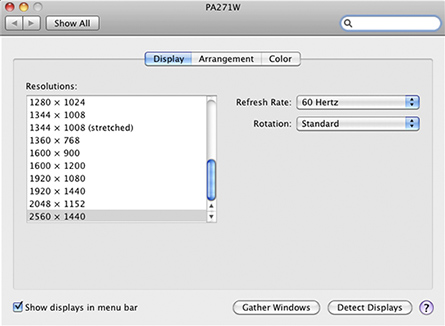 sample of resolution options on a Mac