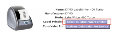 "Choose the ""Select as Label Printer"" button"