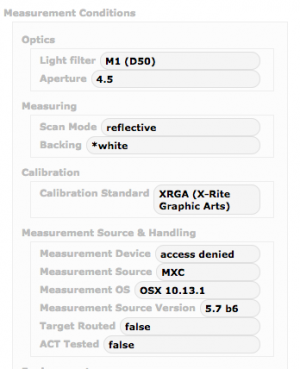 Measurement Conditions section of Reference Set Details
